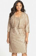 Alex Evenings Embroidered Cocktail Dress with Embellished Bolero Jacket (s 22W)