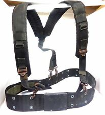 ARMY BLACK TACTICAL H-TYPE LC-1 LOAD BEARING SUSPENDERS AND BELT