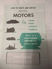 Vintage Craftsman Booklet,How To Select Electric Motors