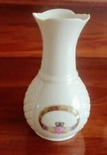 "Irish Donegal Parian Ireland Porcelain Claddagh Vase w./Gold Ring 6.5"" tall Vtg"