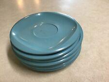 Vintage Boontonware Dessert Plate Set 5 Turquoise Retro Mcm And 2 Saucers