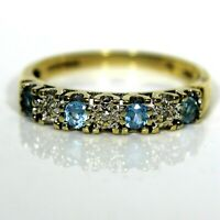 Stunning Topaz & Diamond 9ct Yellow Gold Half Eternity ring N ~ 6 3/4
