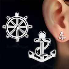maritime Ohrringe , Anker und Steuerrad Paar , Silber 925 , Ohrstecker  Seefahrt