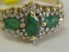 14K GOLD NATURAL EMERALDS AND  DIAMONDS(0.24CT) RING SIZE 8.25