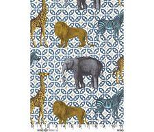 Michael Miller Fat Quarter Africa Animal Bazaar Blue / Azure Quilting Fabric