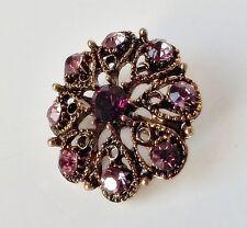 Blüten Brosche florales Ornament Vintage Strass lila amethyst violett antikgold