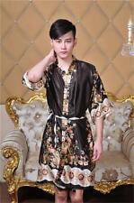 Chinese Women's/Men's silk Kimono Robe Gown nightrobe Coffee average size