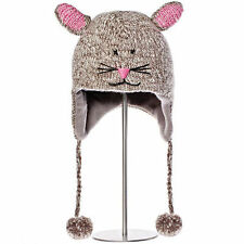 Delux Mimi Mouse Grey Pink Winter Warm Wool Adult Animal Pilot Hat Knitwits NWT