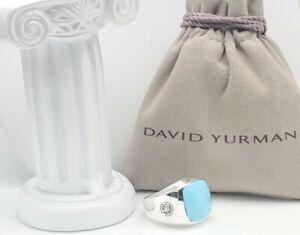 Dsvid Yurman Exotic Stone Signet Ring with Turquoise sz 11