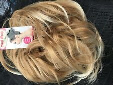 Large Blonde Mix Scrunchie Wavy Wrap Messy Bun Updo ponytail Hairpiece #27.613