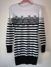 Womens Black and White Stripes Long Sleeve Sweater Dress Size 10