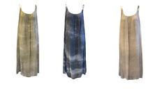 Ellie James Italian Pure 100% Silk Maxi Dress Khaki Blue Beige One Size