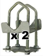 "8 NUT SHELLEY CLAMP 2"" x 2""  UNIVERSAL AERIAL POLE MAST CB HAM TV BRACKET x 2"