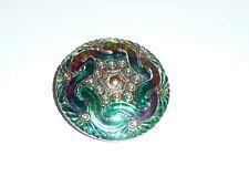 "Beautiful Green w/ Purple Tints & Gold Accents Czech Glass Shank Button - 1-5/8"""