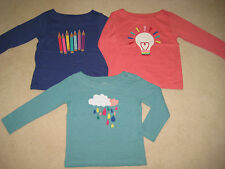 Mini Boden Applique T Shirt Top 2 to 14 years crayons light bulb rain clouds