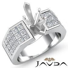 Diamond Engagement Huge Ring Platinum 950 Princess Invisible Semi Mount 1.54Ct