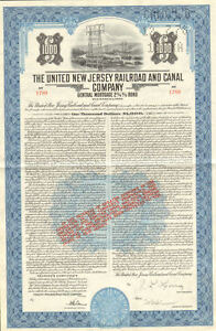 The United New Jersey Railroad and Canal Company > 1951 bond certificate stock