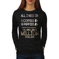 Wellcoda I need Coffee Womens Long Sleeve T-shirt, Money Lottery Casual Design
