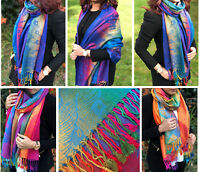 Large Multi Colour Leaf Paisley Print Pashmina Shawl Scarf Wrap Bright Rainbow