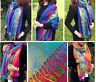 Large Multi Colour Leaf Paisley Print Pashmina Shawl Scarf Wrap Bright Rainbow