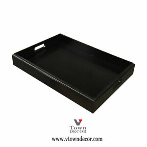 Wooden Tray Natural Serving BLACK with Handles Stackable 18'' x 12.5''
