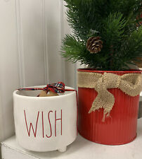Rae Dunn WISH Small Holiday Planter white with Red LL Brand new 2019