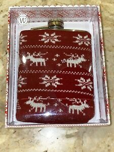 Oh Deer Red White Knit Cover Stainless Steel Hip Flask 7oz Wild Eye Designs
