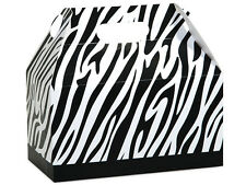 """6ct. Black & White ZEBRA Print Gable Gift Boxes Tote Containers 9-1/2"""" x 5"""" x 5"""""""