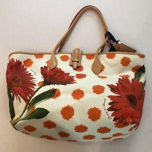 NEW Dooney & Bourke Large Cindy Tote Bag Zinia Canvas Floral Orange Pink White