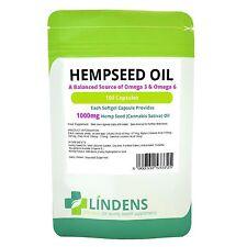 Lindens Powerful Hemp Seed Oil 1000mg 100 Capsules Omega 3 6 Hempseed
