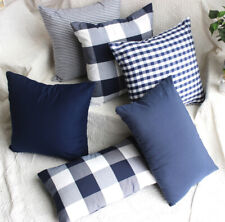 Home cotton square rectangle match set pillow case Cushion Cover blue 45