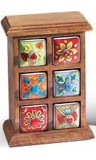 ❤️Mango Wood Unit 6 Ceramic Multi Colour Trinket Drawers Hand Made Fair Trade