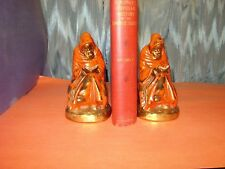 PAIR BOOKENDS RED ROBE MONK READING, MARION BRONZE 1920'S