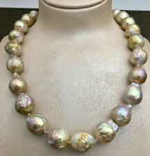 AAA+ REAL HUGE SOUTH SEA PURPLE MULTICOLOR BAROQUE PEARL NECKLACE 18''