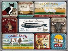 Tiere vom Bauernhof Farm Amerika Nostalgie Kühlschrank Magnet Set 9-teilig MAG15