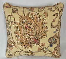"""Pillow made w/ Ralph Lauren Northern Cape Rug Floral Tapestry Fabric 16"""" cording"""