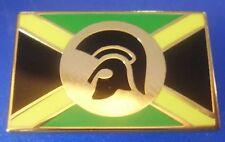 Skinhead Trojan Jamaican Rectangle Yellow And Green Enamel Pin Badge - Gold