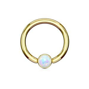 Ring With Opal Imitation Gold IP Over Surgical Steel Eyebrows Lips Balsl
