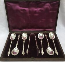 115 grams ANTIQUE VICTORIAN APOSTLE SOLID STERLING SILVER 6 x TEASPOONS & TONGS