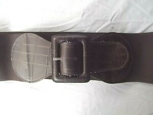 The Limited wide 3.5in elastic cinch belt sz L brown faux croc MINT