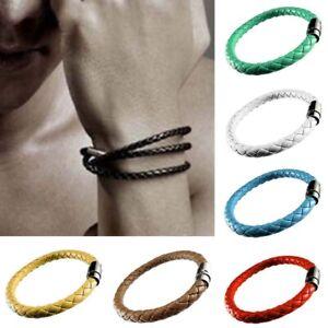 1Pcs Unisex Men's Genuine Braided Leather Steel Magnetic Clasp Bracelet Jewelry