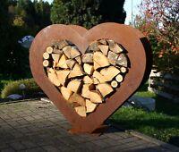 Herz Holzregal Edelrost groß Garten Metall