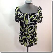 Blue Diamond Black and Green Short Sleeve Top M