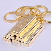 Metal Faux Gold Bar Ingot Bullion Keychain Key Chain Keyring Keyfob Party HC
