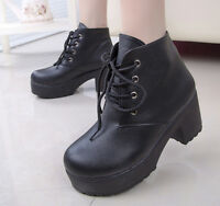 Punk Women's Lace-Up Platform Ankle Boots Punk Pu Leather Boots Ladies Shoes xie
