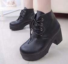 Punk Women's Lace-Up Platform Ankle Boots Punk Pu Leather Boots Ladies Shoes