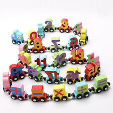 Wooden Toy Train Cars Playset 1 Engine & 26 Magnetic Carrige Set for Baby