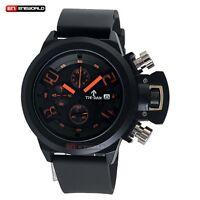 Luxury Black Leather Band Dial Fashion Quartz Men's Wrist Watch Waterproof UK