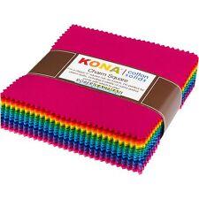 "Robert Kaufman Kona Cotton Solids Bright Charm Pack 101 5"" Quilting Squares Kit"