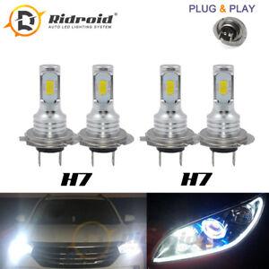 4PCS Mini H7 + H7 Combo LED Headlight Bulbs High Low Beam 100W 16000LM 6000K Kit